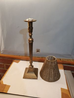 Brass French Candlestick/Tealight Lamp with Shade