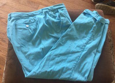 LANE BRYANT Cotton/Spandex Aqua Pants - Size 18