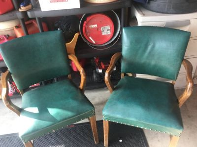 Two vintage chairs perfect for the office or home. Price is for both.