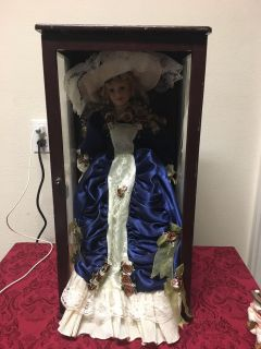 Gorgeous porcelain doll in display box - see additional pic