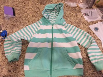 Size 7 teal and white jacket with hood