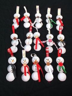 Handmade snowman ornaments and magnets