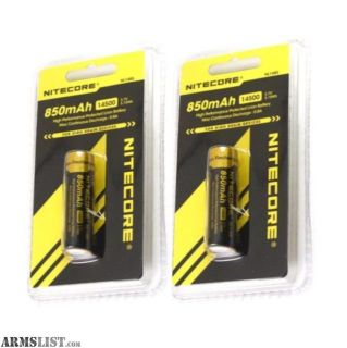 For Sale: 2 X NITECORE NL1485 850mAh 14500 High Performance Li-ion Rechargeable Battery BAT-14500-NITE-NL1485