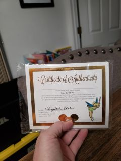New Disney's Collectors Tinkerbell Pin With Certificate of Authenticity.