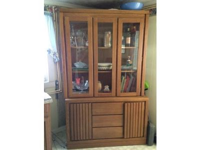 CHINA HUTCH, 2PC W/GLASS DOORS & SHELVES, ...
