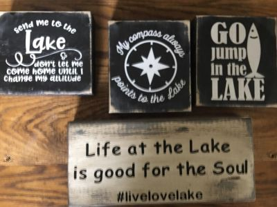 Custom lake signs pick distressed Or not distressed