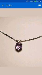 Natural Oval Amethyst Necklace, 2.17cts