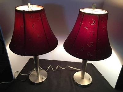 Pier 1 lamps - set of 2 with metal stands & burgundy shades