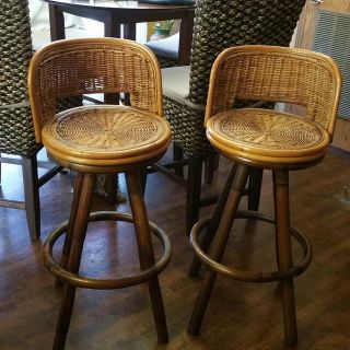 Vintage Swivel Bamboo Bar/Counter Chairs