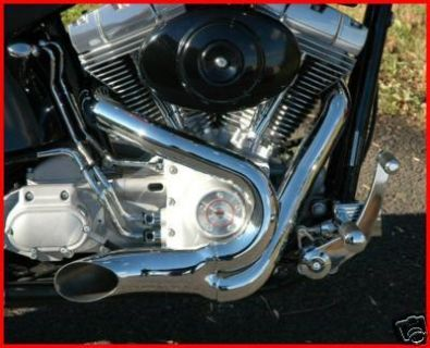 """Sell 5"""" SANTEE CHROME 2:1 XZOTIC EXHAUST LAKE PIPE 2 INTO 1 HARLEY SOFTAIL & CHOPPER motorcycle in Zieglerville, Pennsylvania, US, for US $404.90"""