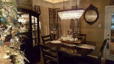 Dining Table, Four Chairs and China Cabinet