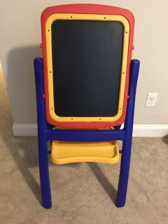 Kids Easel with Chalkboard and Dry Erase Board