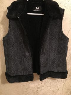 Blanc Noir from Neiman Marcus vest, faux fur lined, zip closure, like new condition