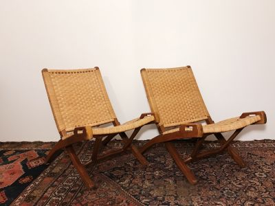 Vintage pair of Hans Wegner style folding chairs