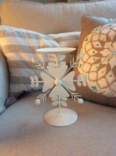 "Metal snowflake candle holder 8"" x 6 1/4"""
