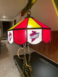 Iowa State Cyclones stained glass hanging lamp