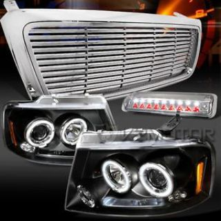 Find 04-08 F150 Black Halo Projector Headlights+Clear LED 3rd Brake+Billet Grille motorcycle in Walnut, California, United States, for US $261.23