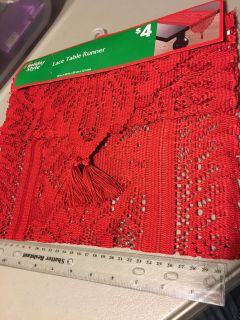 New! Lace Table Runner (red) 13 x48 . $2
