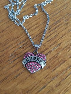 New Nurse Crystal Heart Necklace