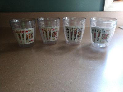Tervis Tumbler set of 4 insulated cups with playing cards