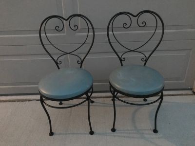 Vintage Heart Wrought Iron Chairs