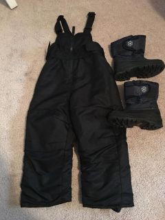2t snow bib and toddler 8 snow boots