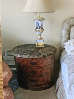 2 Hemingway Marble Top Bedside Tables with Drawers