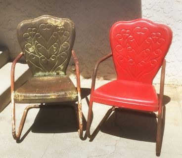Pair of mid century 'Heart' metal patio chairs