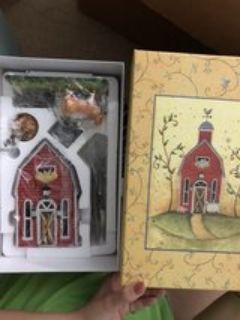 partylite red barn candle holder