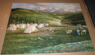 "Indian Tee Pee Village Print - John French - 16"" x 20"" Unframed"