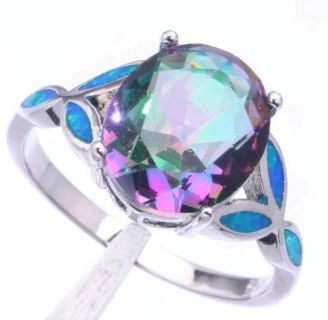 Rainbow Topaz and Blue Fire Opal Ring - Size 8