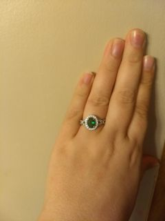 Emerald and cz ring. Worn only to take picture