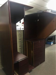 U Shaped Solid Wood Desk with lateral file cabinet