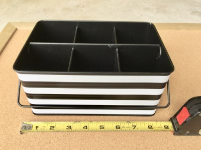 Black & White Office Supply Organizer Tin for Pens, Pencils, Scissors