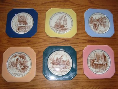 6 Piece Syracuse China Brand Ceramic American History COASTER Complete Set