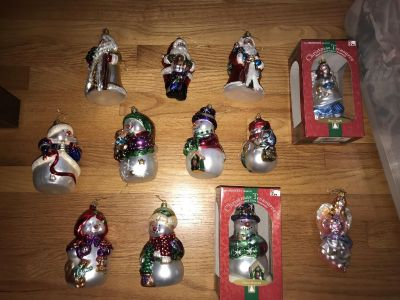 6 Large Glass Snowman ornaments. 12 total all one price! 2 are brand new in box.