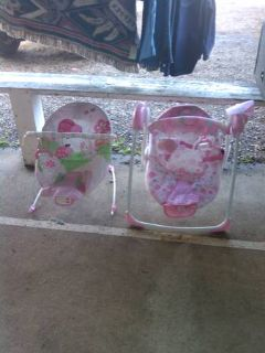 girls pink baby bouncer and swing new