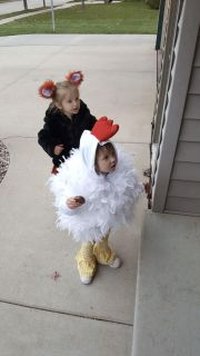 Chicken costume with feathers handmade