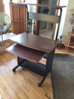 Nice Desk with Pull Out Keyboard Tray; extra shelf right under the keyboard tray & Removable Top Shelf $25