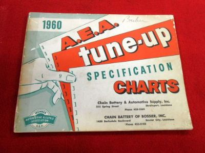 Purchase A.E.A. Tune-Up Specification Charts Booklet 1960 Cadillac Lincoln Packard T-Bird motorcycle in San Antonio, Texas, United States
