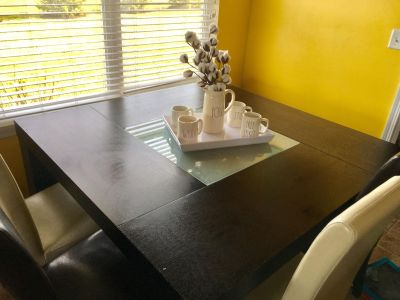Modern dining table seats 8