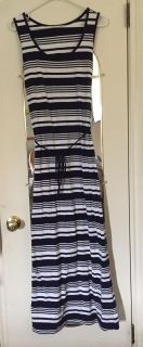 Maternity size L navy blue and white striped maxi dress