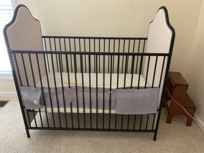 Crib, changing table and pad (baskets not included)