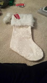 Tapestry and fur Christmas stocking. New with tags