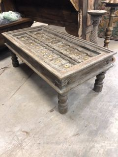 Antique Coffee Table Gray Handcarved Unique Hotel Farmhouse Decoe