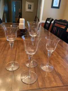 Beautiful Lot of 4 Etched Candle Holders