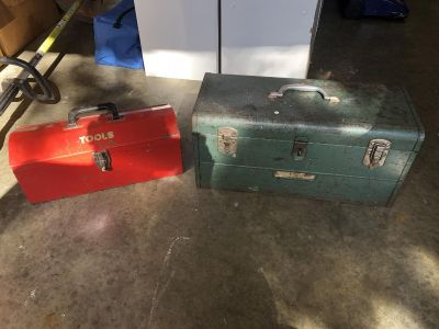 Two metal tool boxes