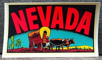 Purchase VINTAGE TRAVEL DECAL NEVADA RAT HOT ROD MID CENTURY ART TRAILER COACH OLD WAGON motorcycle in Sacramento, California, US, for US $29.99