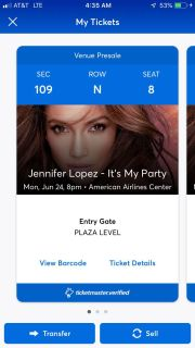 2 JLo concert tickets-Dallas Tx