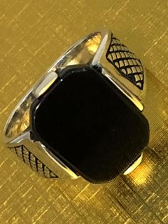 925K Sterling Silver Onyx Stone Ring